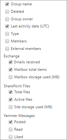 office 365 groups report - choose columns