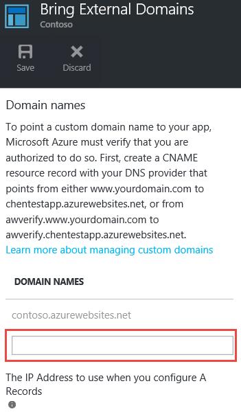 web app settings enter custom domain names