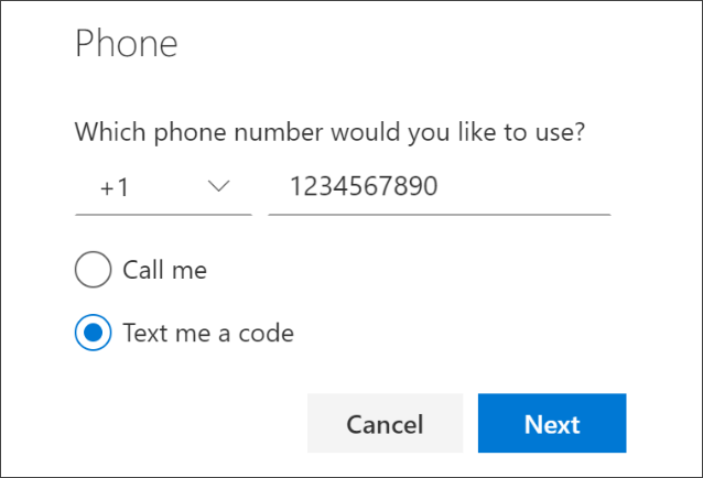 """Screenshot that shows the """"Phone"""" page, with """"Text me a code"""" selected."""