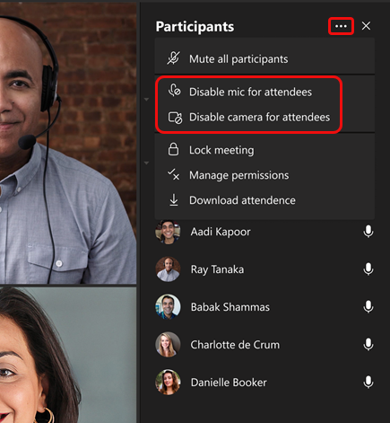Don't allow attendees to unmute option