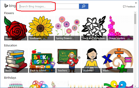 Search for border clip art on Bing