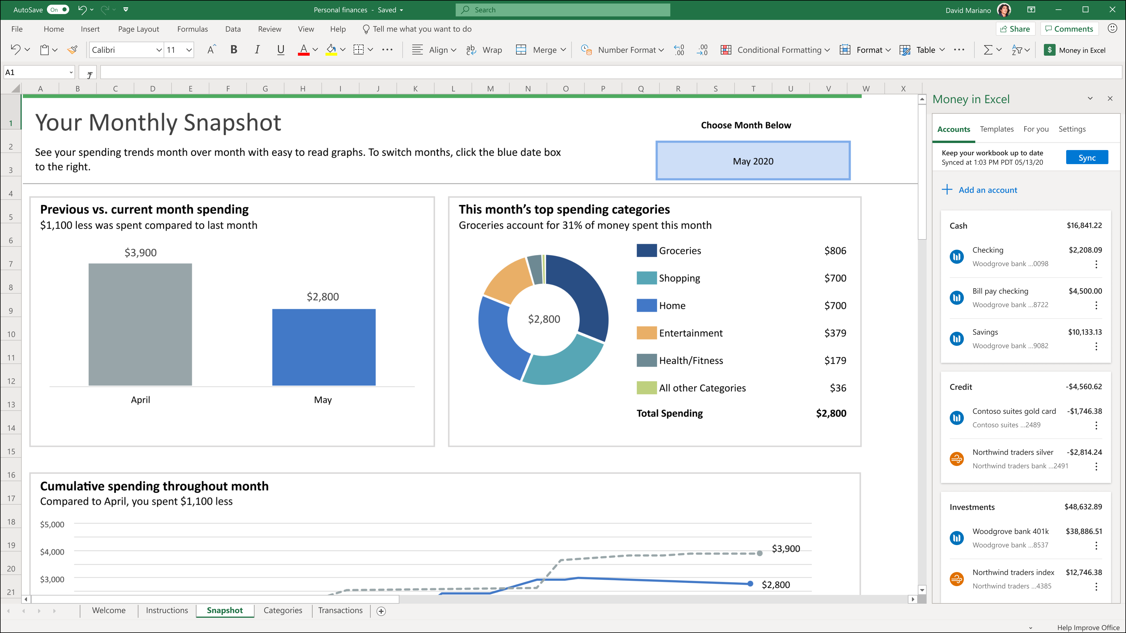 The Snapshot sheet in Money in Excel.