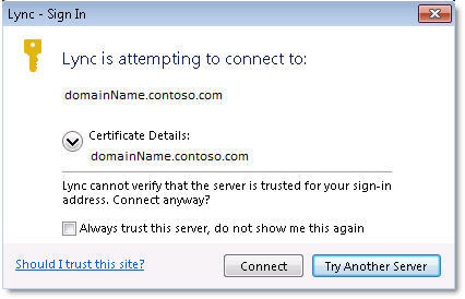 A screen shot of the Lync - Sign In dialog box, showing the error message