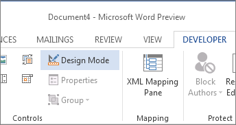 Design Mode Button  Forms Templates Word