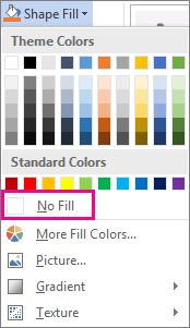 Selecting No Fill