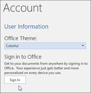 Screenshot showing Account information in Word