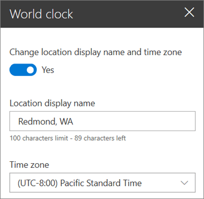 The toolbox for the World Clock webpart for SharePoint sites, showing how to customize a display name and time zone