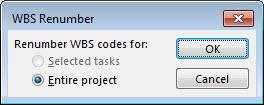 WBS Renumber dialog box image