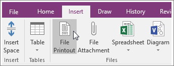 Screenshot of the File Printout button in OneNote 2016.