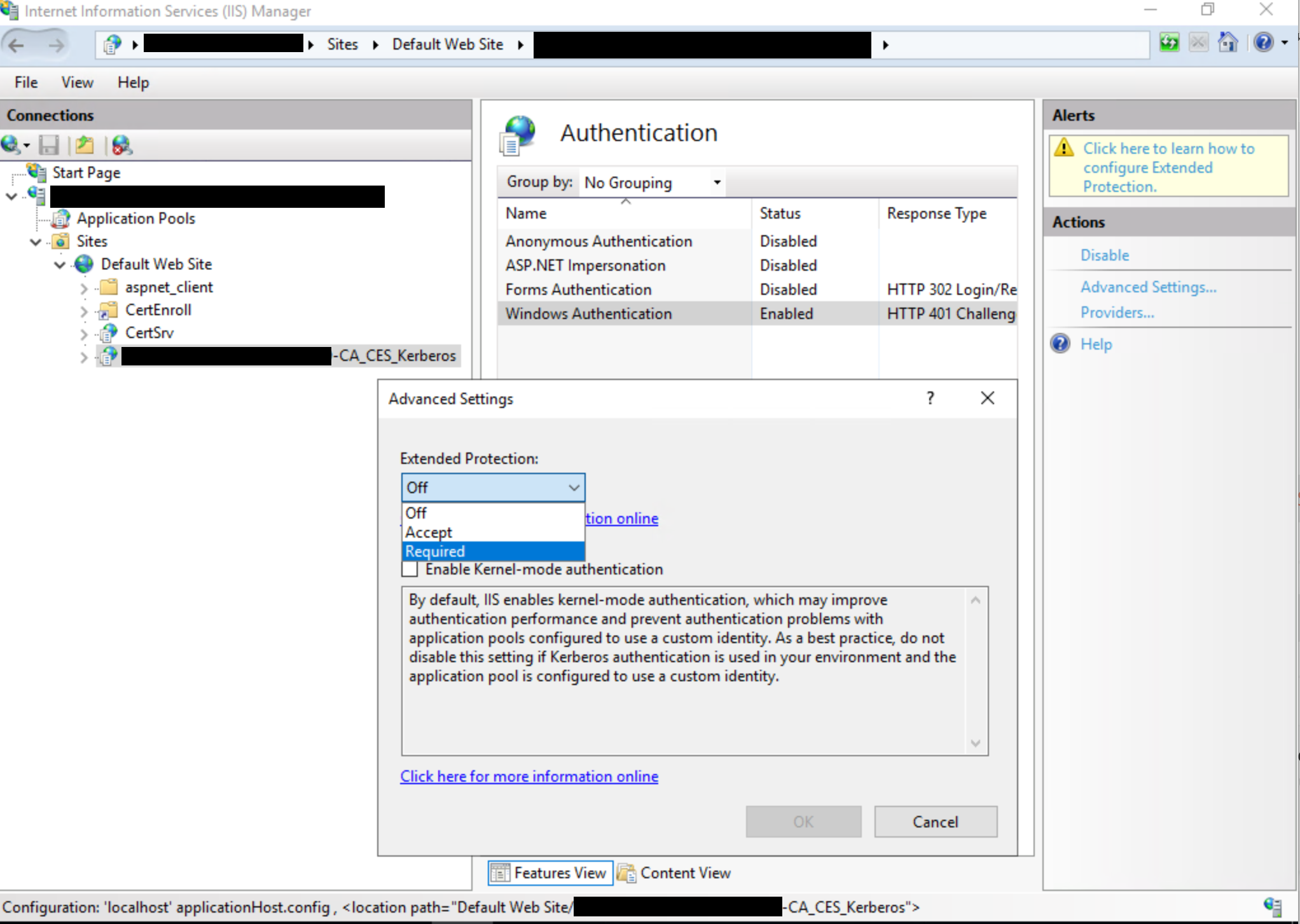 Certificate Enrollment Web Service dialog