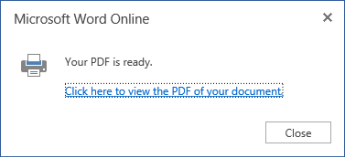 Word Online print dialog