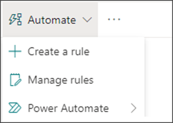 Image of the Automate menu with Power Automate selected