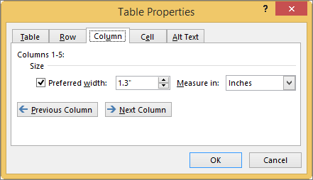 Column tab in the Table Properties dialog box