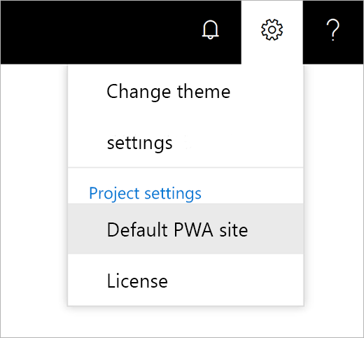 Screenshot of the settings gear icon menu with the pointer choosing Default PWA site