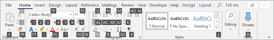 Key Tips in the ribbon in Word 365