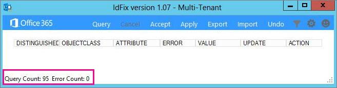 IdFix query and error count.