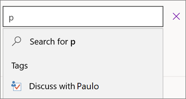 Search box with p and results showing Discuss with Paulo
