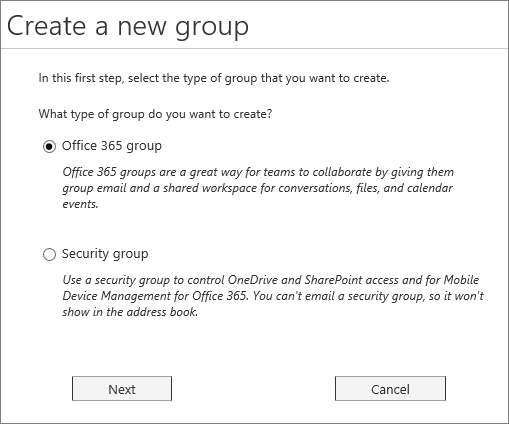 Create a new Office 365 Group or a new security group