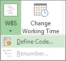 Image of Define Code option of WBS button.