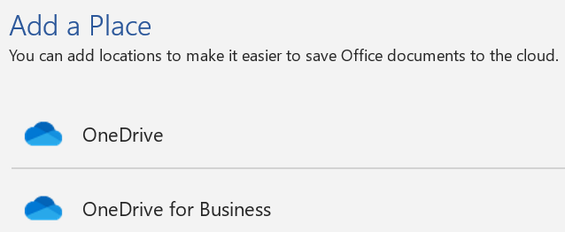 Screenshot of the Add a Place button and Add a Place list on the Save As page of Word.