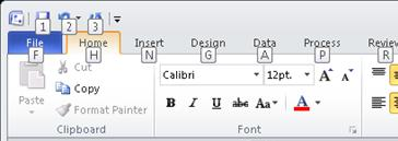 The Visio 2010 ribbon, with KeyTips displayed.