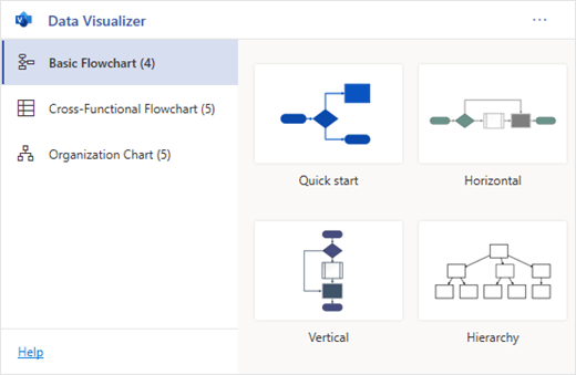 The Data Visualizer add-in has several types of diagrams to choose from.