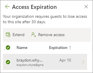 Screenshot of extend and remove access options for expiring guest access