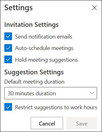 Dashboard organizer settings