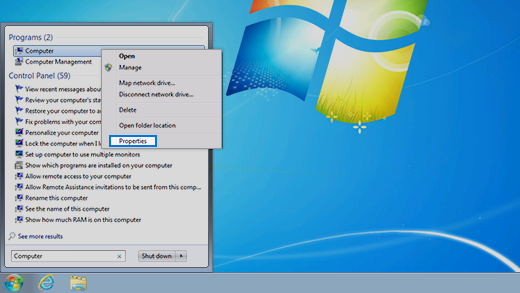 Control panel in Windows 7 operating system.