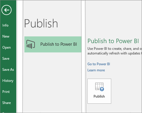 Publish tab in Excel 2016 showing Publish to Power BI button