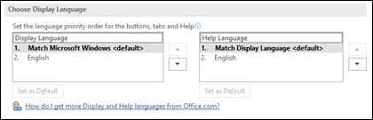 The dialog that allows you to select the language that Office will use for it's buttons, menus and help.