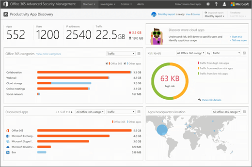 Screenshot shows the  Productivity App Discovery dashboard  of the Office 365 Security & Compliance Center. Key areas include Office 365 categories, Risk levels, Discovered apps, and Apps headquarters location.