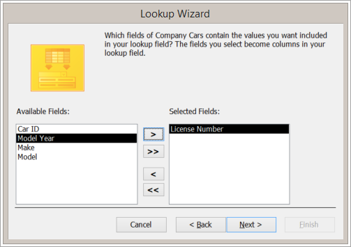 Screen snippet of the Lookup Wizard