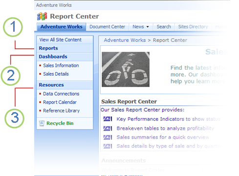Report Center navigation links