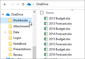Windows Explorer, OneDrive folder, Excel files