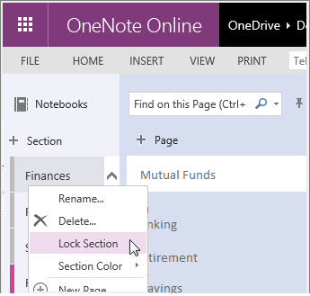 Screenshot of how to relock a section in OneNote Online.