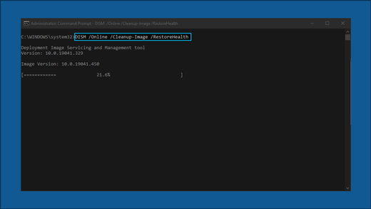The command prompt showing: DISM/Onlin /Cleanup-Image/RestoreHealth