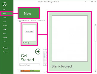 Create a new blank project button image