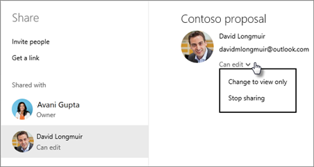Edit shared permissions in OneDrive