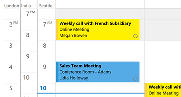 Calendar with 3 time zones on the left side and meetings on the right side