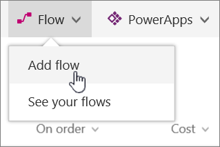 Flow menu in list with Add Flow highlighted