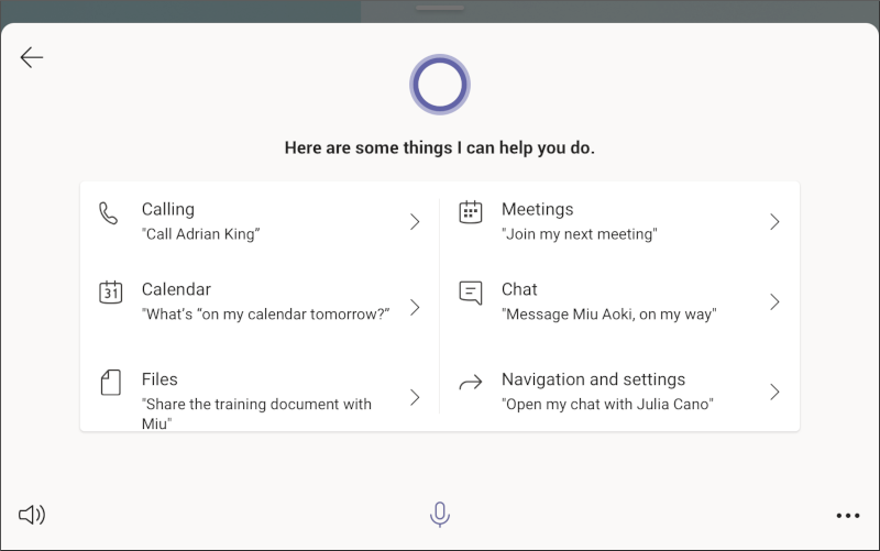Microsoft Teams display - queries screen