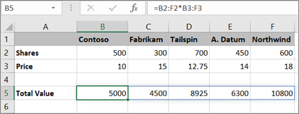 An example of array formula calculating multiple results