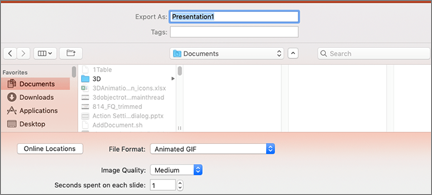 Export dialog with Animated GIF as the selected file format