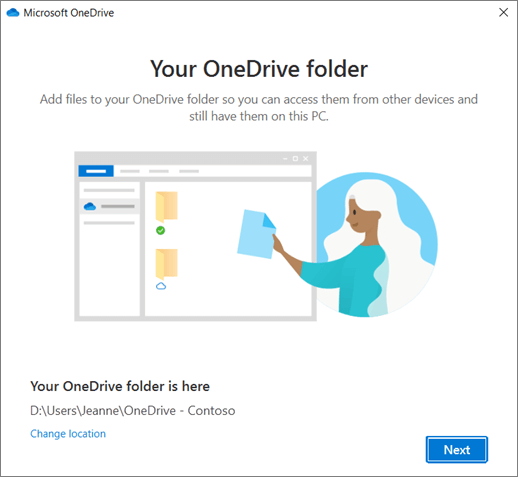 The This is Your OneDrive Folder screen in the Welcome to OneDrive wizard