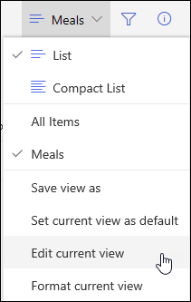 SharePoint Online Edit Current View Menu Option