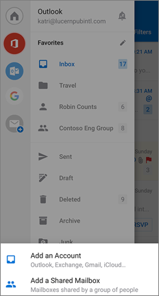 Settings page with Add a Shared Mailbox option at the bottom
