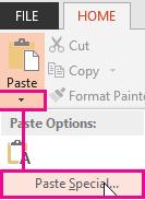 Paste Special menu