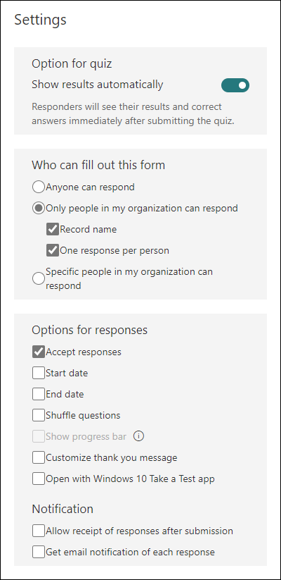 Various settings for Microsoft Forms, including who can fill out a form, options for responses, and notifications.
