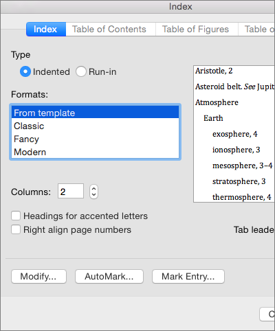 Shows the options you can set in the Index dialog box